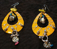 Steampunk Gearpunk Earrings ~ Yellow Silver Wire Wrap Dangle Loops ~ Gears Rings