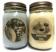 Combo Burnt Rubber and Motor Oil Set of Two 16oz Country Jar Soy Candles Great U