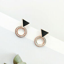 Women Rose Gold Stainless Steel White Black Shell Earrings Stud Free Shipping