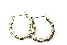 925 Sterling Silver Bamboo Hoop Earrings 7 Grams (EAR3858)