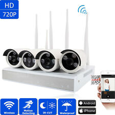 4CH Wireless NVR Wifi 720P IR Night Vision Cameras Outdoor Home Security System