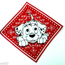 "9.5"" DISNEY DALMATIANS DOG FABRIC RED BANDANNA  APPLIQUE IRON ON CHARACTER"