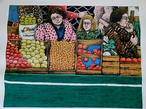 DAVID AZUZ hand signed LIMITED EDITION LITHOGRAPH PRINT 16/35 LADIES in PRODUCE