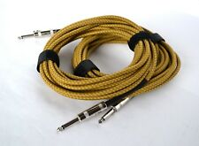 2 GUITAR LEADS NOISELESS INSTRUMENT CABLE 20FT / 6M JACK TO JACK YELLOW BRAIDED