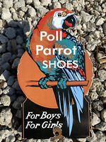 VINTAGE POLL PARROT SHOES PORCELAIN SIGN USA TEXTILES OIL GAS STATION PETROLIANA