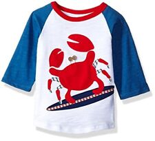 NWT Mud Pie Boathouse Surfing Crab Boys Blue Raglan Shirt 12M/18M 2T/3T 4T/5T
