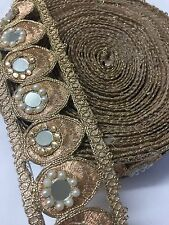 ATTRACTIVE INDIAN ROSE GOLD PEACOCK MIRRORS & PEARLS/CRYSTALS TRIM/LACE-1 Metre