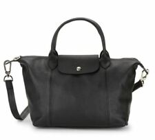 NWT Longchamp Le Pliage Cuir Small Top Handle Black Leather Neo Crossbody Bag