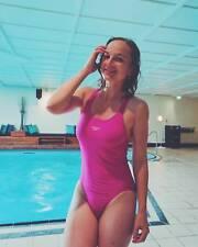 "Pink Speedo Endurance swimsuit UK/US 34"" High Leg Racer Back Maillot de bain d176"