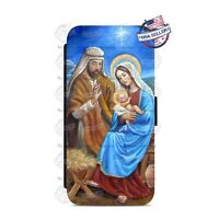 Christmas Jesus Baby Wallet Flip Phone Case Cover For iPhone Samsung etc