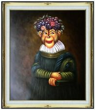 Framed Quality Hand Painted Oil Painting, Monkey with Grapes Hat 20x24in