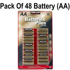 Kirkland Signature Alkaline Piles Long Life Lasting 1.5v AA Pack of 48 Battery