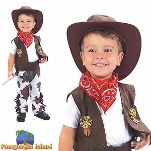 KIDS WILD WEST RODEO SHERIFF COWBOY - Age 2-3 - boys childs fancy dress costume