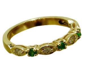 R103 Genuine 9K 9ct Solid Gold Natural Emerald & Diamond Eternity Ring Trilogy