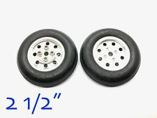 """1Pair 2.5"""" CNC Aluminum Hub&Rubber Wheel for RC Airplanes 06-04602 (US Seller)"""