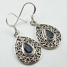 INEXPENSIVE Jewelry ! 925 Pure Silver DROP FACETED IOLITE GIRLS' Earrings 1.5""