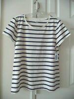 Old Navy Off White Navy Blue Mariner Stripe Modal Cotton T-shirt 1X 18 20 2X XXL