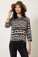 Anthropologie Maeve Linosa Top Leopard lines blouse sz XS animal print
