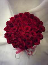 Red Rose Bouquet - Preserved Roses - Black Hat Box for Mother's Day