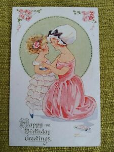 1926 Agnes Richardson Signed PC, Birthday Greetings, Little Girl and Mother