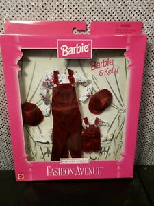 RARE VELVET FASHION AVENUE MATCHING STYLES BARBIE & KELLY DOLL OUTFIT MATTEL