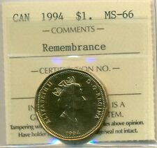 "1994 Canada Loon Dollar ""Remembrance"" ICCS MS-66"