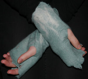 Hand Made Felt Merino Wool Cobweb Green Fingerless Gloves / Gauntlets / Mittens