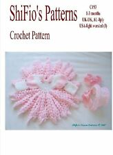 Crochet Pattern for Baby Girl Dress Hat Shoes #53 Not Clothes