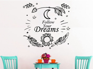 Follow Your Dream Wall Stickers Feather Wall Decals Kids Rooms Home Decoration