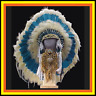 "Genuine Native American Navajo 36"" Indian Headdress ""MEADOW"" Blue, & White"