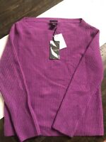 Halogen Purple Dewberry 100% Cashmere Sweater Size Small ~very Soft~