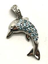 Sterling Silver Blue Aquamarine Cluster - CZ Bail Dolphin Ocean Nautical Pendant
