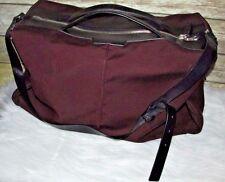 Costume National Maroon Black Leather Trim Carry On CrossBody Duffle Luggage Bag