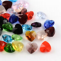 100 pcs Mixed Color Faceted Heart Transparent Glass Charm Pendants 10mm