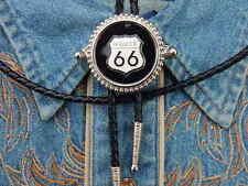 NEW EXCLUSIVE HANDCRAFTED ROUTE 66 BOLO TIE,SILVER METAL,COWBOYS,WESTERN