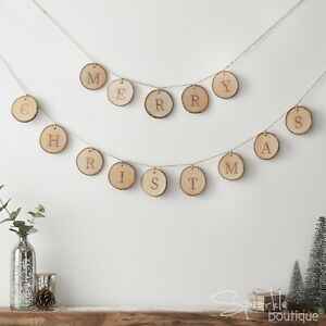 MERRY CHRISTMAS WOODEN BUNTING  - Festive Rustic Xmas Hanging Decoration/Garland