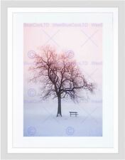 PHOTO LANDSCAPE WINTER SNOW FOGGY SUNRISE TREE BENCH FRAMED ART PRINT B12X13312