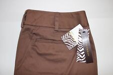 NWT DANA BUCHMAN Size 14 Women's Flat Front Brown Sands STRETCH Cropped Pants