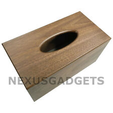 Quar Tissue Box Cover Walnut Wood Holder, Large Classy Bathroom Bedroom Decor