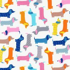 Fabric Dogs Dachshunds Pastel on White Kaufman Cotton 1/4 yard 15736205
