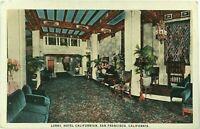 Lobby Hotel Californian San Francisco California CA Rates Advertising Postcard