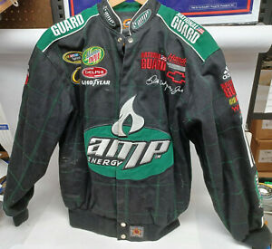 Dale Earnhardt JR AMP National Guard Mens Medium Black Nascar Twill Jacket