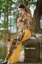Ao dai 3D, prints design, Vietnamese traditional long dress with pants, silk