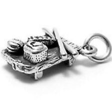 925 Sterling Silver 3D Sushi Plate Charm