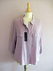 M&S AUTOGRAPH  Size 12 Mauve 100% Silk 3/4 Sleeve Shirt + Pockets NEW