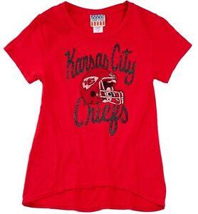 Kansas City Chiefs Girls NFL Hi Low Glitter Shirt By Junk Food Size XL