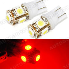 2x Red LED Bulb 5-SMD T10 Side / Under Door Courtesy Light