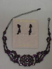 Vintage Antique Victorian style Austrian Crystal Amethyst choker & earrings