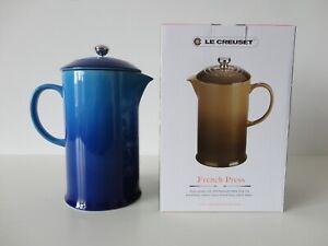NIB LE CREUSET Blueberry Blue Stoneware French Press Coffee Maker Pot Plunger