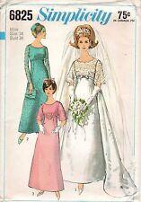 "Simplicity Sewing Patterns Wedding Bridesmaid Dress #6825 SZ 14 Bust 34"" 1960's"